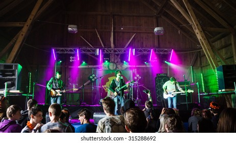 SALACGRIVA, LATVIA - July 31: Band 'Pyro Trees' performs on stage during International music festival LABADABA, on July 31, 2015