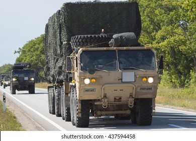SALACGRIVA, LATVIA - JUNE 14, 2016: Dragoon Ride II - US army convoy drives on June 13 and 14, 2016 through Latvia to an Estonian military base
