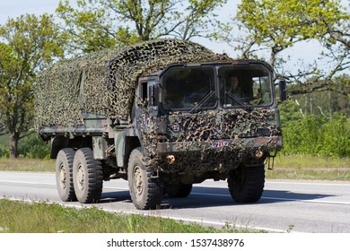 Salacgriva/Latvia - August 29, 201: A convoy of military transport