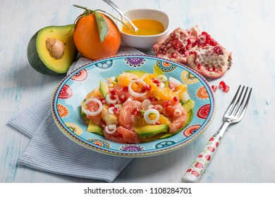 salad with avocado grapefruit orange and pomegranate