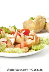 salad and baked potato