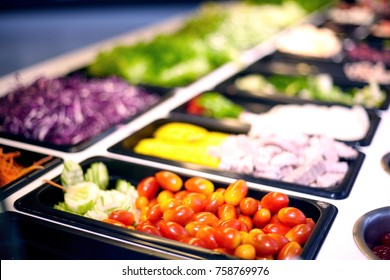 Salad bar include organic vegetables and fruits, healthy or diet food conceopt.