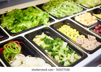 Salad bar include organic vegetables and fruits, healthy or diet food concept.