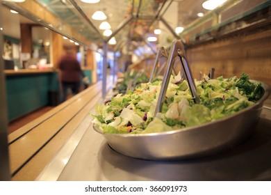 Salad bar in a restaurant.