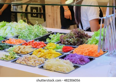 salad bar with vegetable in the restaurant, healthy food