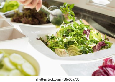 Salad bar with vegetables, healthy food. Close up.