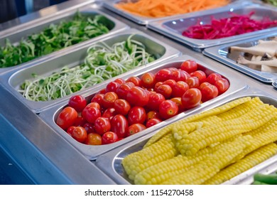 salad bar with vegetables in the restaurant, healthy food