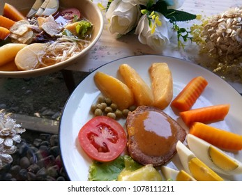 salad and beef tradisional food from java indonesia