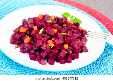 Salad of Beets and Carrots. Studio Photo