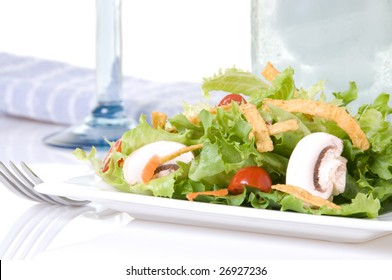 Salad with blue accent colors