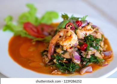 salad chakram and shrimp