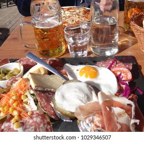 Salad, charcuterie, cheese and eggs for lunch at a small outdoor restaurant in the Portes du Soleil town of Avoriaz, France