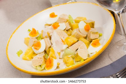 Salad with chicken, egg and pineapple