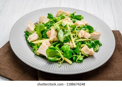 salad with chicken grilled with lettuce on the table
