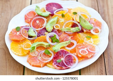 Salad with Citrus Fruits, Avocado and Onion. Also available in vertical format.