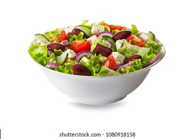 Salad with feta cheese and fresh vegetables isolated on white background. Greek salad.