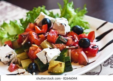 salad with feta cheese, olives and peppers