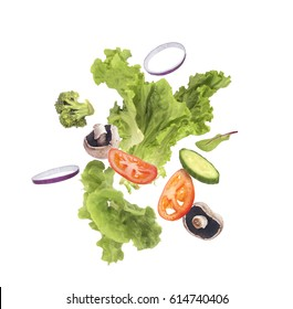 Salad flying on a white background