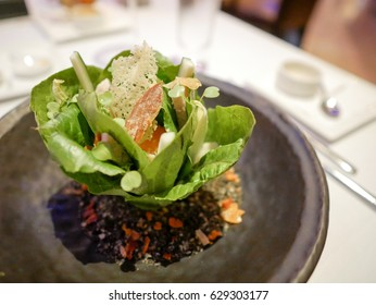 Salad in form of bouquet are served in fine dining restaurant.
