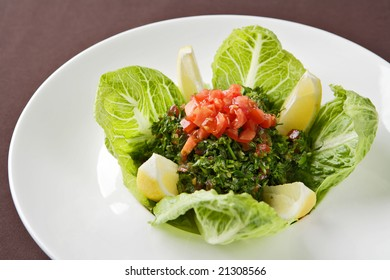 Salad from fresh greens.