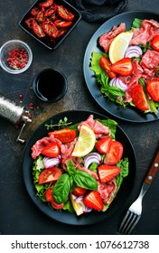 salad with fresh strawberry carpaccio vegetables, stock photo