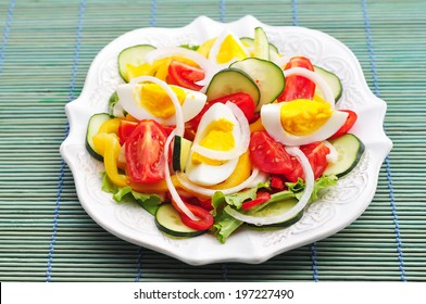 Salad with fresh vegetables and eggs
