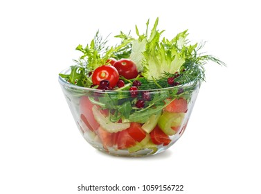 Salad with fresh vegetables isolated on white background