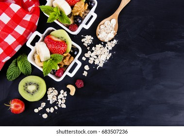 Salad with fruits and berries  - Shutterstock ID 683507236