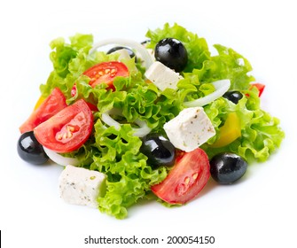 Salad. Greek Salad isolated on a White Background. Mediterranean Salad with Feta Cheese, Tomatoes and Olives. Fresh Healthy vegetarian food