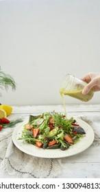 Salad with Kale Ginger and Lemon Dressing