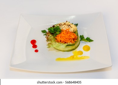 Salad with Korean carrot on a white background