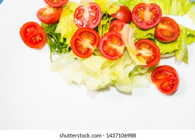 Salad with lettuce and tomato. Fresh and summer dish. typical of Sicily and the Mediterranean. The Mediterranean diet.