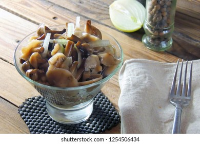 salad with marinated mushrooms and onions. pickled mushrooms with onions