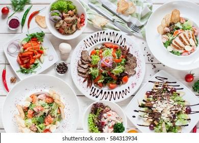 Salad Meat Warm Buffet Restaurant Menu Banquet Party Celebration Concept