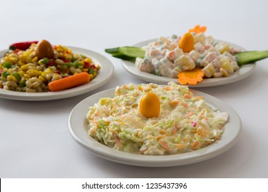 salad for the menu, Cole slaw and Russian Crab and Corn Salad