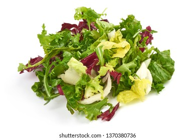 Salad mix with rucola, frisee, radicchio and lamb's lettuce, close-up, isolated on white background.