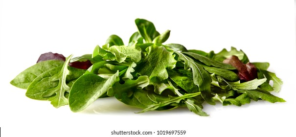 Salad mix with rucola, frisee, valeriana  and spinach. Isolated on white background.