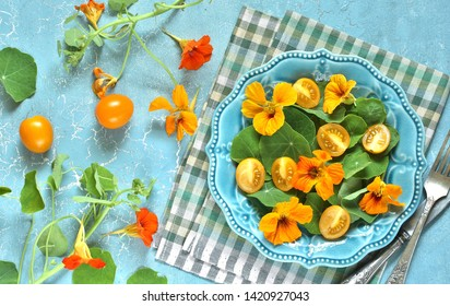 salad with nasturtium leaves and flowers of the plant. bright summer salad with edible yellow flowers and yellow tomatoes with egg. top view.
