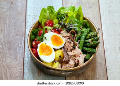 Salad nicoise with tuna, egg and anchovies