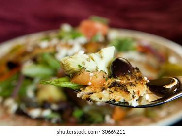 salad on fork