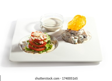 Salad with Rabbit Fillet and Mushrooms and Dill Sauce