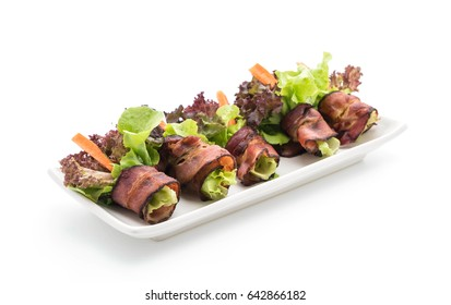 salad roll with bacon on white background