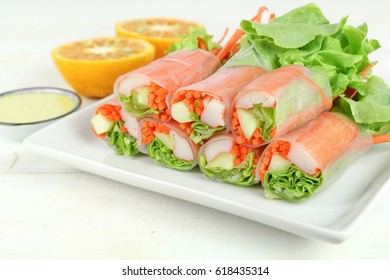 salad roll  with crab stick and lettuce