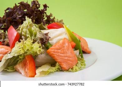 salad with salmon
