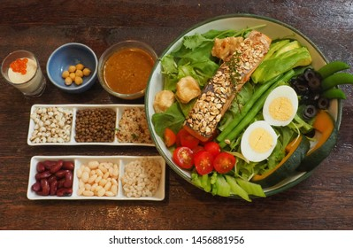 Salad salmon. delicious dish clean food