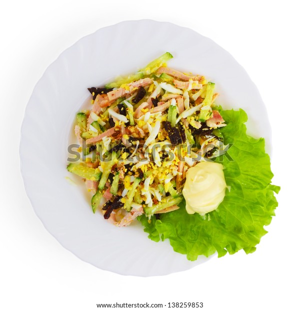 salad sausage food plate isolated white background