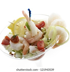 Salad With Shrimps In A Glass Dish