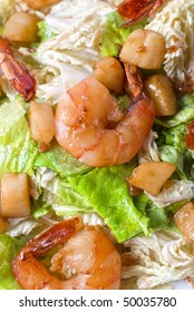 Salad with shrimps and vegetable close up