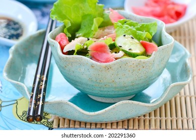Salad from smoked chicken and cucumbers in Asian style.selective focus