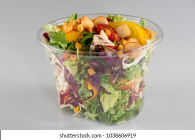 Salad takeaway container on white background